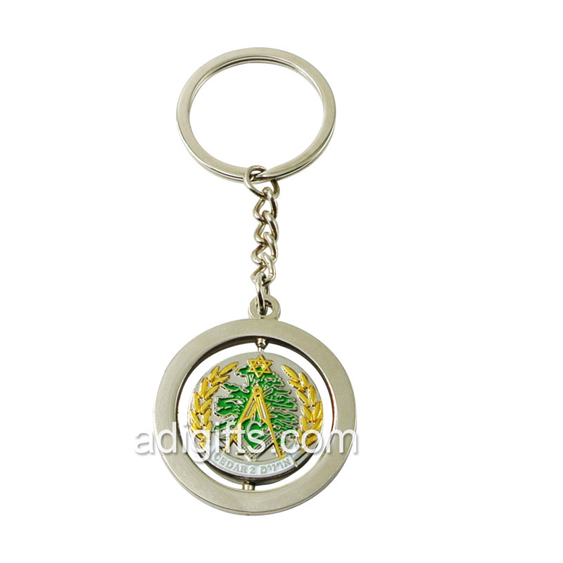 nickel rotating metal keychain
