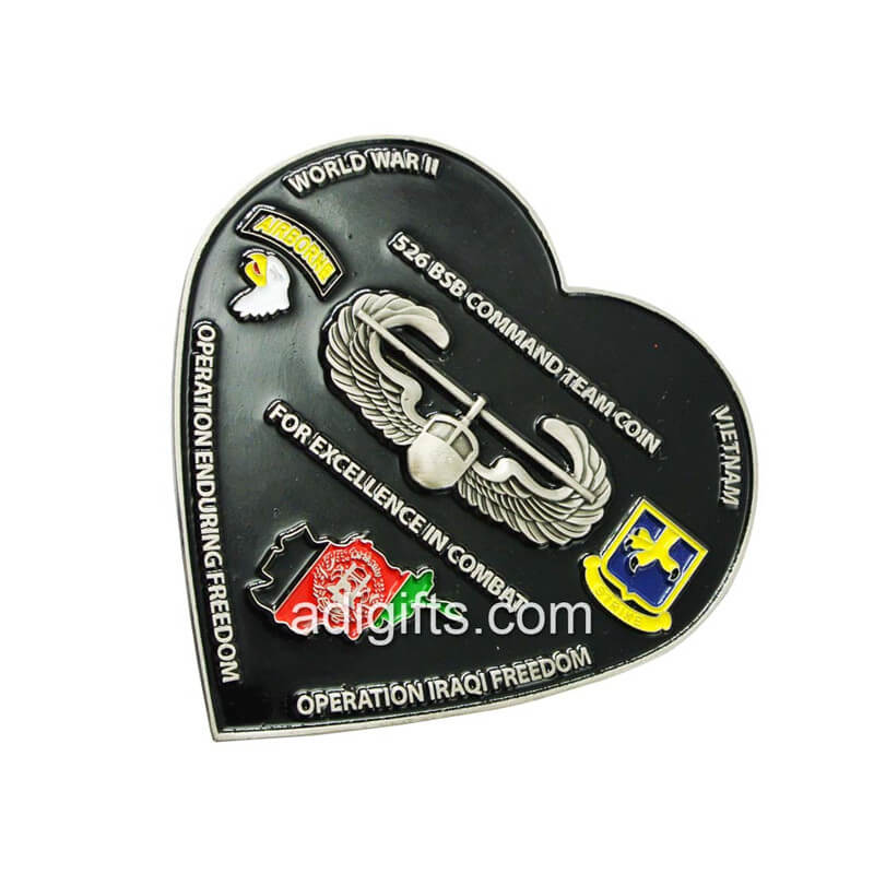 heart shape soft enamel challenge coin